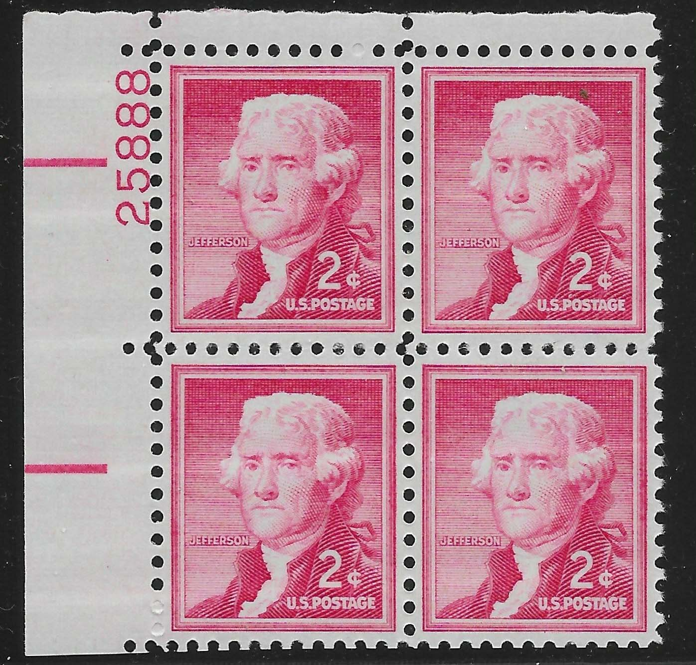 "Scott 1033 Plate Block (2 cents) <p> <a href=""/images/USA-Scott-1033-PB.jpg""><font color=green><b>View the image</a></b></font>"