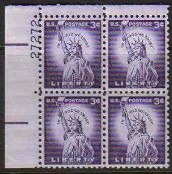 "Scott 1035 Plate Block (3 cents) <p> <a href=""/images/USA-Scott-1035-PB.jpg""><font color=green><b>View the image</a></b></font>"