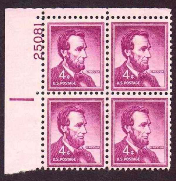 "Scott 1036 Plate Block (4 cents) <p> <a href=""/images/USA-Scott-1036-PB.jpg""><font color=green><b>View the image</a></b></font>"
