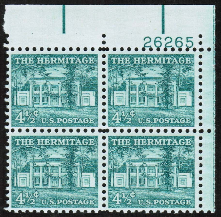 "Scott 1037 Plate Block (4.5 cents) <p> <a href=""/images/USA-Scott-1037-PB.jpg""><font color=green><b>View the image</a></b></font>"