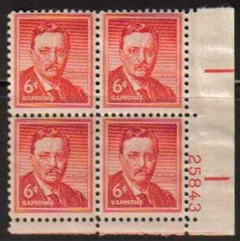 "Scott 1039 Plate Block (6 cents) <p> <a href=""/images/USA-Scott-1039-PB.jpg""><font color=green><b>View the image</a></b></font>"