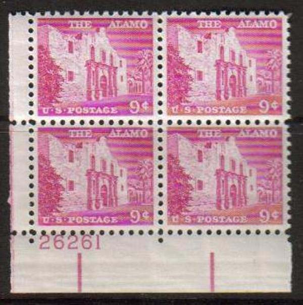 "Scott 1043 Plate Block (9 cents) <p> <a href=""/images/USA-Scott-1043-PB.jpg""><font color=green><b>View the image</a></b></font>"
