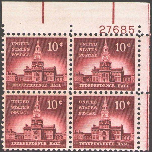 "Scott 1044 Plate Block (10 cents) <p> <a href=""/images/USA-Scott-1044-PB.jpg""><font color=green><b>View the image</a></b></font>"