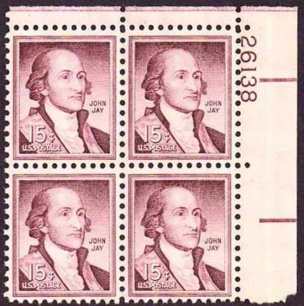 "Scott 1046 Plate Block (15 cents) <p> <a href=""/images/USA-Scott-1046-PB.jpg""><font color=green><b>View the image</a></b></font>"