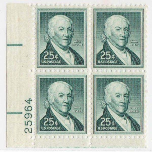 "Scott 1048 Plate Block (25 cents) <p> <a href=""/images/USA-Scott-1048-PB.jpg""><font color=green><b>View the image</a></b></font>"