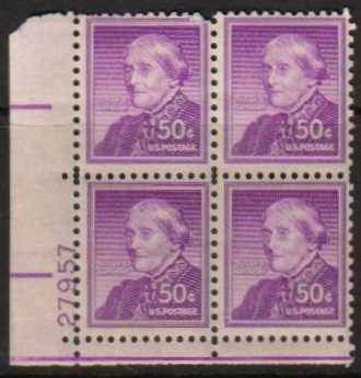"Scott 1051 Plate Block (50 cents) <p> <a href=""/images/USA-Scott-1051-PB.jpg""><font color=green><b>View the image</a></b></font>"