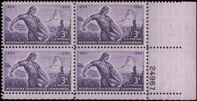 "Scott 1060 Plate Block (3 cents) <p> <a href=""/images/USA-Scott-1060-PB.jpg""><font color=green><b>View the image</a></b></font>"