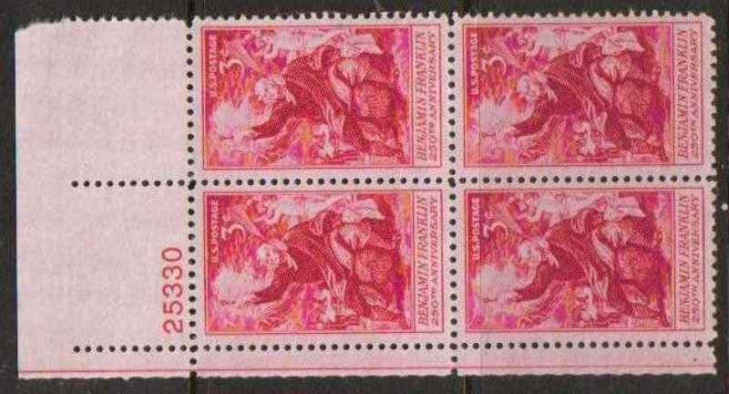 "Scott 1073 Plate Block (3 cents) <p> <a href=""/images/USA-Scott-1073-PB.jpg""><font color=green><b>View the image</a></b></font>"