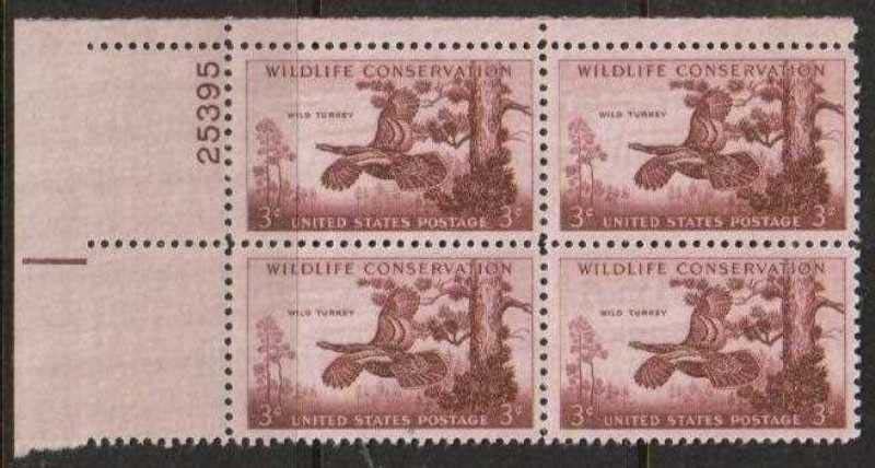 "Scott 1077 Plate Block (3 cents) <p> <a href=""/images/USA-Scott-1077-PB.jpg""><font color=green><b>View the image</a></b></font>"