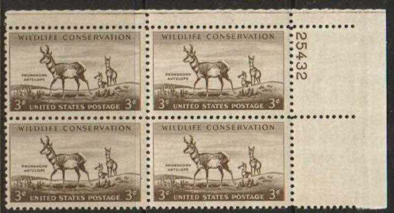 "Scott 1078 Plate Block (3 cents) <p> <a href=""/images/USA-Scott-1078-PB.jpg""><font color=green><b>View the image</a></b></font>"