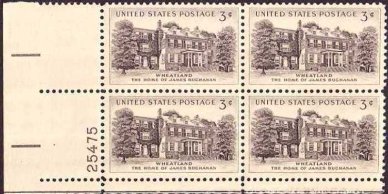 "Scott 1081 Plate Block (3 cents) <p> <a href=""/images/USA-Scott-1081-PB.jpg""><font color=green><b>View the image</a></b></font>"