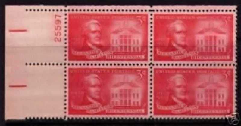 "Scott 1086 Plate Block (3 cents) <p> <a href=""/images/USA-Scott-1086-PB.jpg""><font color=green><b>View the image</a></b></font>"