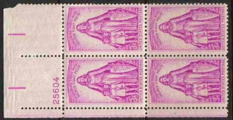 "Scott 1087 Plate Block (3 cents) <p> <a href=""/images/USA-Scott-1087-PB.jpg""><font color=green><b>View the image</a></b></font>"
