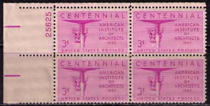"Scott 1089 Plate Block (3 cents) <p> <a href=""/images/USA-Scott-1089-PB.jpg""><font color=green><b>View the image</a></b></font>"
