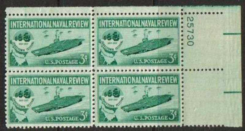 "Scott 1091 Plate Block (3 cents) <p> <a href=""/images/USA-Scott-1091-PB.jpg""><font color=green><b>View the image</a></b></font>"