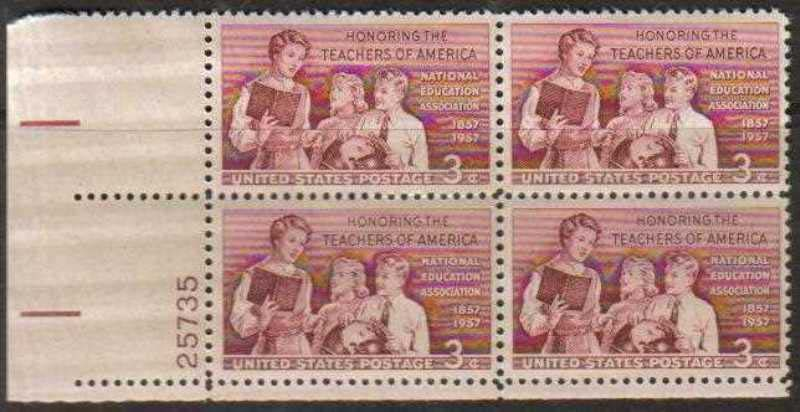 "Scott 1093 Plate Block (3 cents) <p> <a href=""/images/USA-Scott-1093-PB.jpg""><font color=green><b>View the image</a></b></font>"