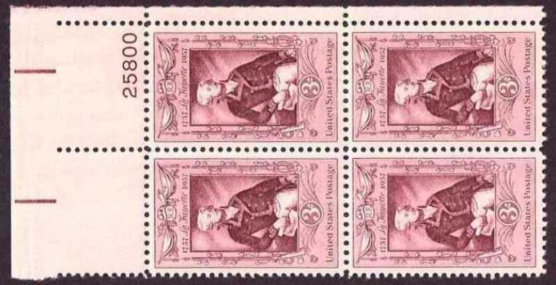 "Scott 1097 Plate Block (3 cents) <p> <a href=""/images/USA-Scott-1097-PB.jpg""><font color=green><b>View the image</a></b></font>"
