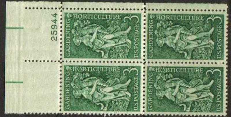 "Scott 1100 Plate Block (3 cents) <p> <a href=""/images/USA-Scott-1100-PB.jpg\""><font color=green><b>View the image</a></b></font>"