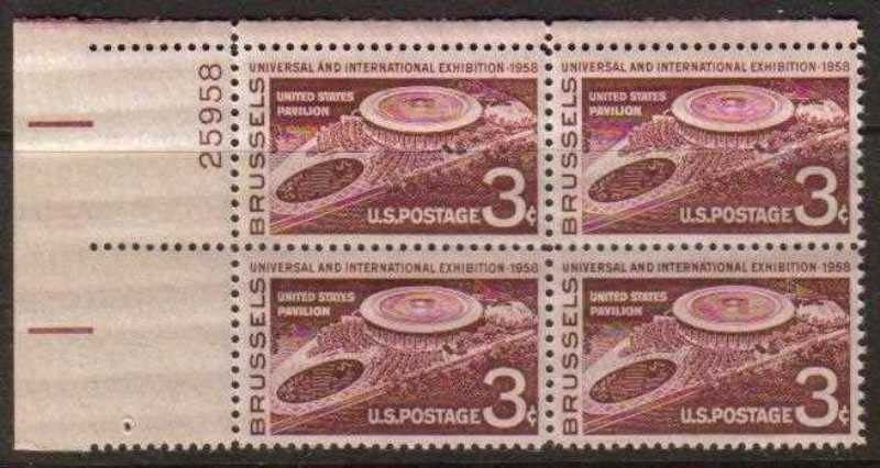 "Scott 1104 Plate Block (3 cents) <p> <a href=""/images/USA-Scott-1104-PB.jpg""><font color=green><b>View the image</a></b></font>"