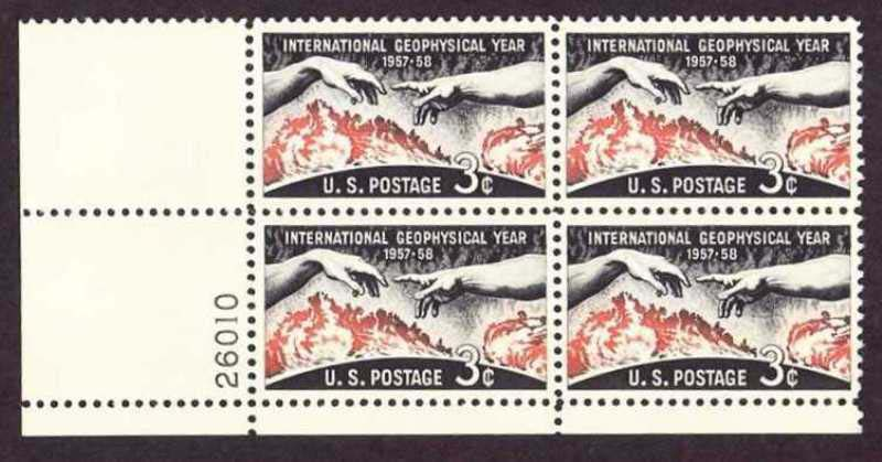 "Scott 1107 Plate Block (3 cents) <p> <a href=""/images/USA-Scott-1107-PB.jpg""><font color=green><b>View the image</a></b></font>"