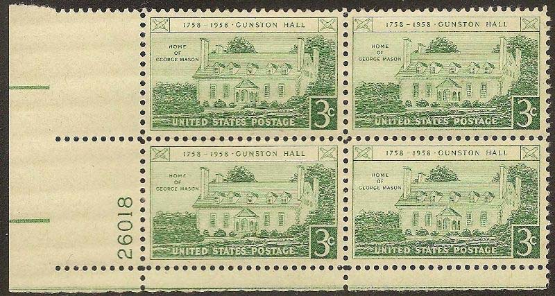 "Scott 1108 Plate Block (3 cents) <p> <a href=""/images/USA-Scott-1108-PB.jpg""><font color=green><b>View the image</a></b></font>"