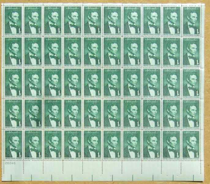 "Scott 1113 Sheet (1 cent) <p> <a href=""/images/USA-Scott-1113-Sheet.jpg""><font color=green><b>View the image</a></b></font>"