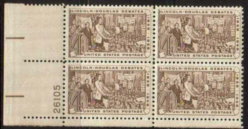 "Scott 1115 Plate Block (4 cents) <p> <a href=""/images/USA-Scott-1115-PB.jpg""><font color=green><b>View the image</a></b></font>"