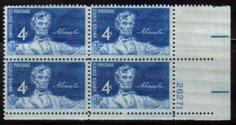"Scott 1116 Plate Block (4 cents) <p> <a href=""/images/USA-Scott-1116-PB.jpg""><font color=green><b>View the image</a></b></font>"