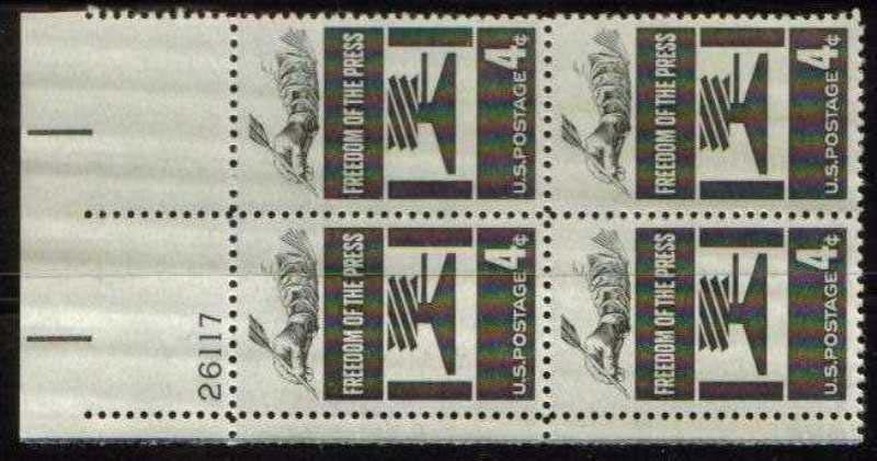 "Scott 1119 Plate Block (4 cents) <p> <a href=""/images/USA-Scott-1119-PB.jpg""><font color=green><b>View the image</a></b></font>"