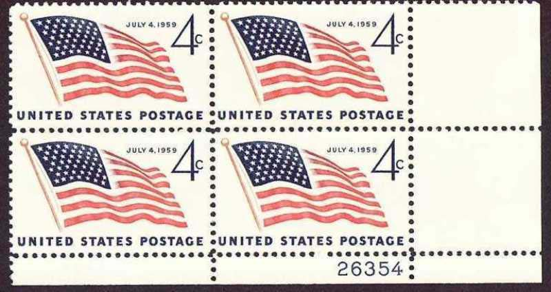 "Scott 1132 Plate Block (4 cents) <p> <a href=""/images/USA-Scott-1132-PB.jpg""><font color=green><b>View the image</a></b></font>"