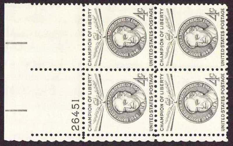 "Scott 1136 Plate Block (4 cents) <p> <a href=""/images/USA-Scott-1136-PB.jpg""><font color=green><b>View the image</a></b></font>"