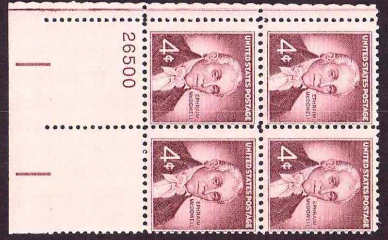 "Scott 1138 Plate Block (4 cents) <p> <a href=""/images/USA-Scott-1138-PB.jpg""><font color=green><b>View the image</a></b></font>"