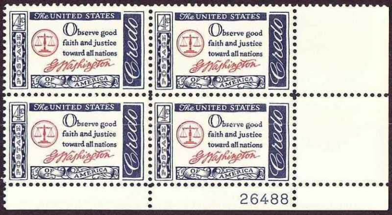 "Scott 1139 Plate Block (4 cents) <p> <a href=""/images/USA-Scott-1139-PB.jpg""><font color=green><b>View the image</a></b></font>"