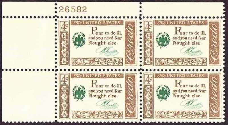 "Scott 1140 Plate Block (4 cents) <p> <a href=""/images/USA-Scott-1140-PB.jpg""><font color=green><b>View the image</a></b></font>"