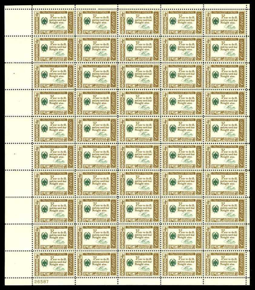"Scott 1140 Sheet (4 cents) <p> <a href=""/images/USA-Scott-1140-Sheet.jpg""><font color=green><b>View the image</a></b></font>"