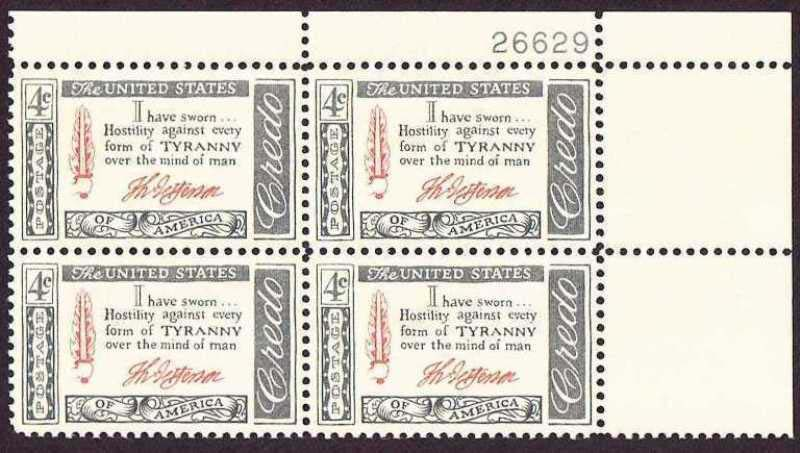 "Scott 1141 Plate Block (4 cents) <p> <a href=""/images/USA-Scott-1141-PB.jpg""><font color=green><b>View the image</a></b></font>"