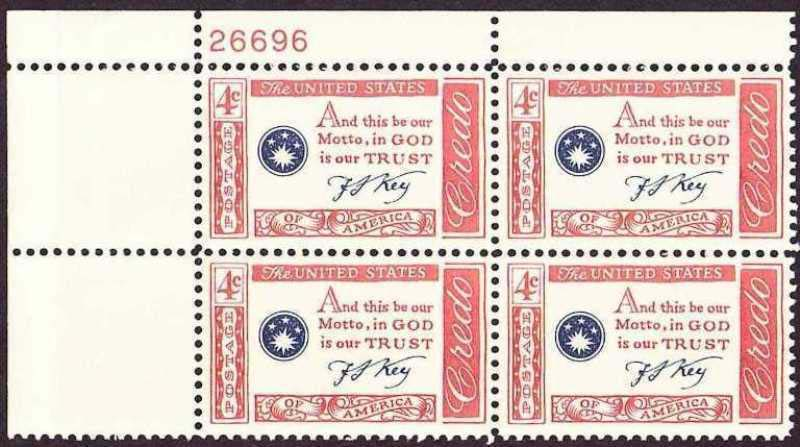 "Scott 1142 Plate Block (4 cents) <p> <a href=""/images/USA-Scott-1142-PB.jpg""><font color=green><b>View the image</a></b></font>"