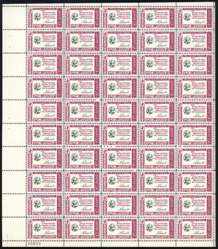 "Scott 1143 Sheet (4 cents) <p> <a href=""/images/USA-Scott-1143-Sheet.jpg\""><font color=green><b>View the image</a></b></font>"