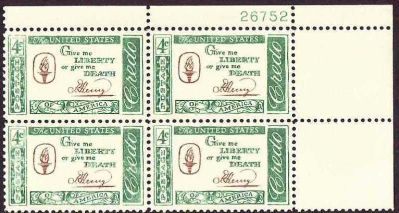 "Scott 1144 Plate Block (4 cents) <p> <a href=""/images/USA-Scott-1144-PB.jpg""><font color=green><b>View the image</a></b></font>"