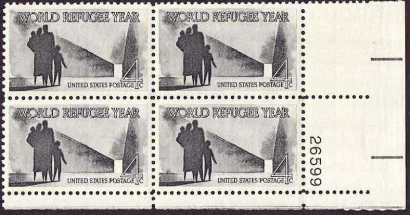 "Scott 1149 Plate Block (4 cents) <p> <a href=""/images/USA-Scott-1149-PB.jpg""><font color=green><b>View the image</a></b></font>"