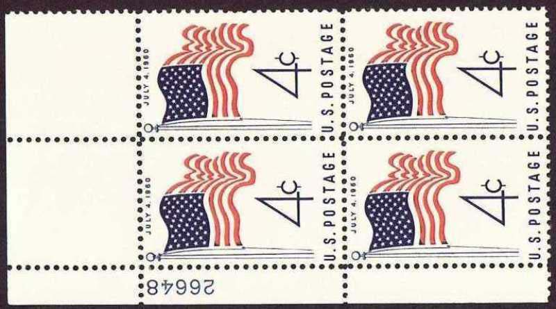 "Scott 1153 Plate Block (4 cents) <p> <a href=""/images/USA-Scott-1153-PB.jpg""><font color=green><b>View the image</a></b></font>"
