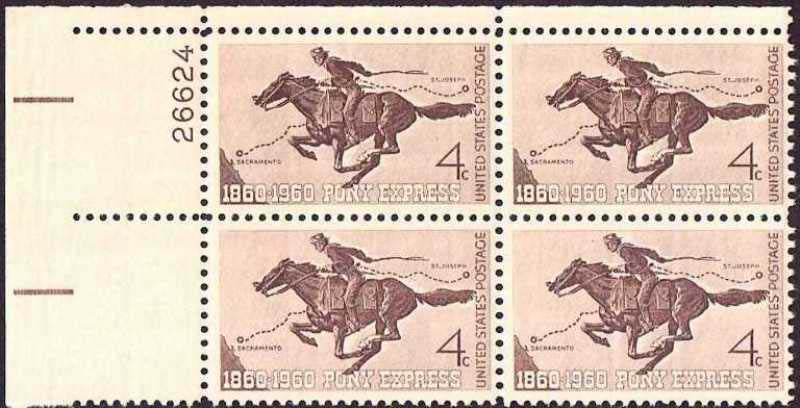 "Scott 1154 Plate Block (4 cents) <p> <a href=""/images/USA-Scott-1154-PB.jpg""><font color=green><b>View the image</a></b></font>"