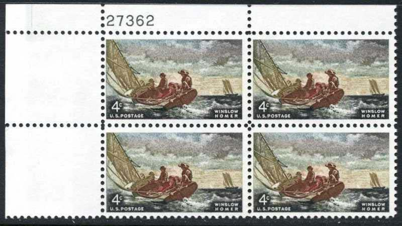 "Scott 1207 Plate Block (4 cents) <p> <a href=""/images/USA-Scott-1207-PB.jpg""><font color=green><b>View the image</a></b></font>"