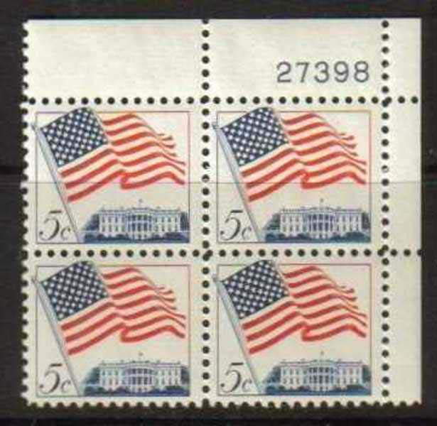 "Scott 1208 Plate Block (5 cents) <p> <a href=""/images/USA-Scott-1208-PB.jpg""><font color=green><b>View the image</a></b></font>"