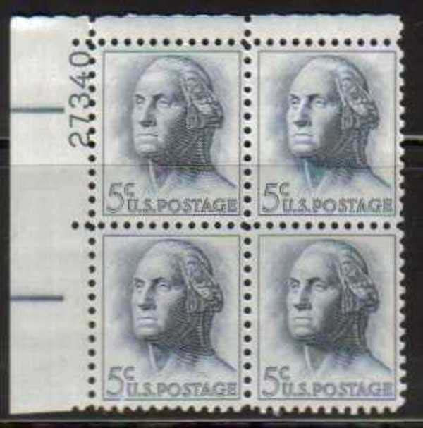 "Scott 1213 Plate Block (5 cents) <p> <a href=""/images/USA-Scott-1213-PB.jpg""><font color=green><b>View the image</a></b></font>"