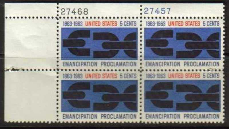 "Scott 1233 Plate Block (5 cents) <p> <a href=""/images/USA-Scott-1233-PB.jpg""><font color=green><b>View the image</a></b></font>"
