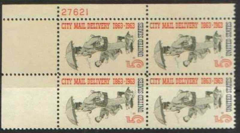 "Scott 1238 Plate Block (5 cents) <p> <a href=""/images/USA-Scott-1238-PB.jpg""><font color=green><b>View the image</a></b></font>"