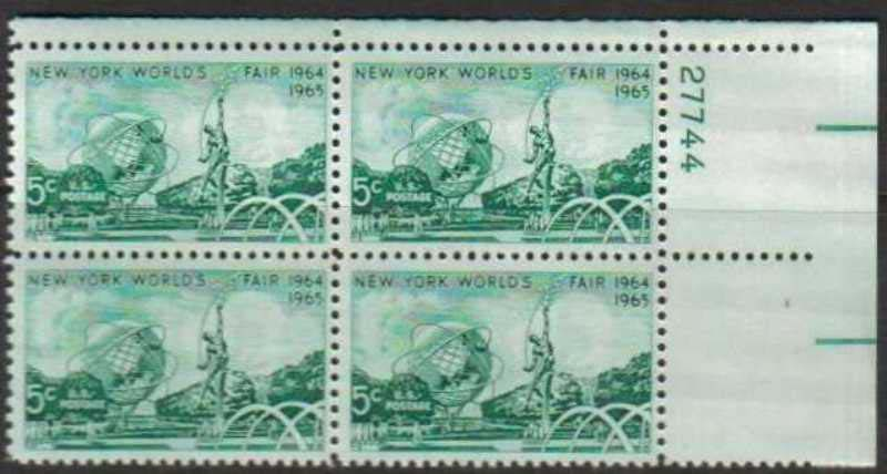 "Scott 1244 Plate Block (5 cents) <p> <a href=""/images/USA-Scott-1244-PB.jpg\""><font color=green><b>View the image</a></b></font>"
