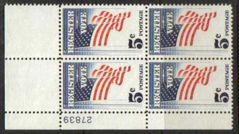 "Scott 1249 Plate Block (5 cents) <p> <a href=""/images/USA-Scott-1249-PB.jpg""><font color=green><b>View the image</a></b></font>"