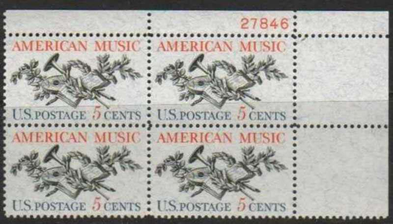 "Scott 1252 Plate Block (5 cents) <p> <a href=""/images/USA-Scott-1252-PB.jpg""><font color=green><b>View the image</a></b></font>"